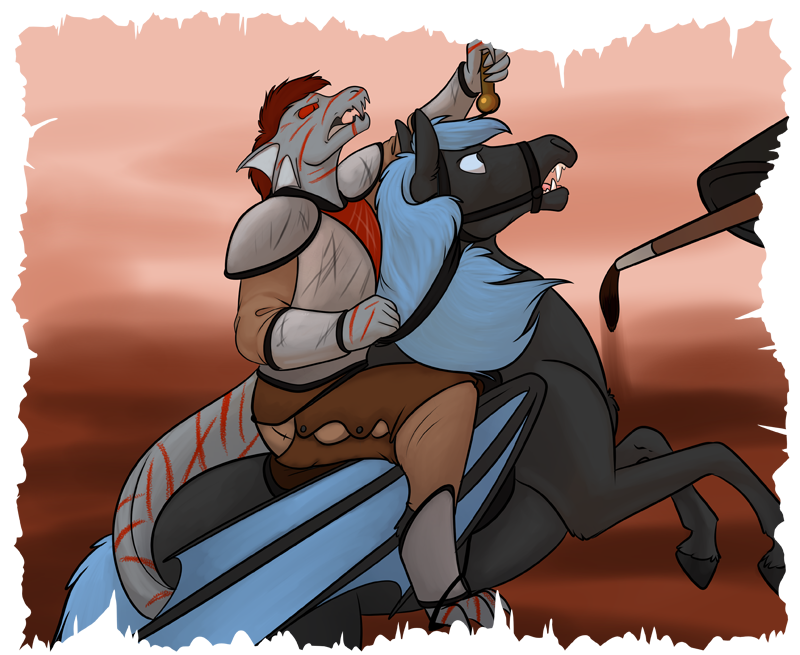 A painting of Ferric (riding) atop Zoljen (steed)