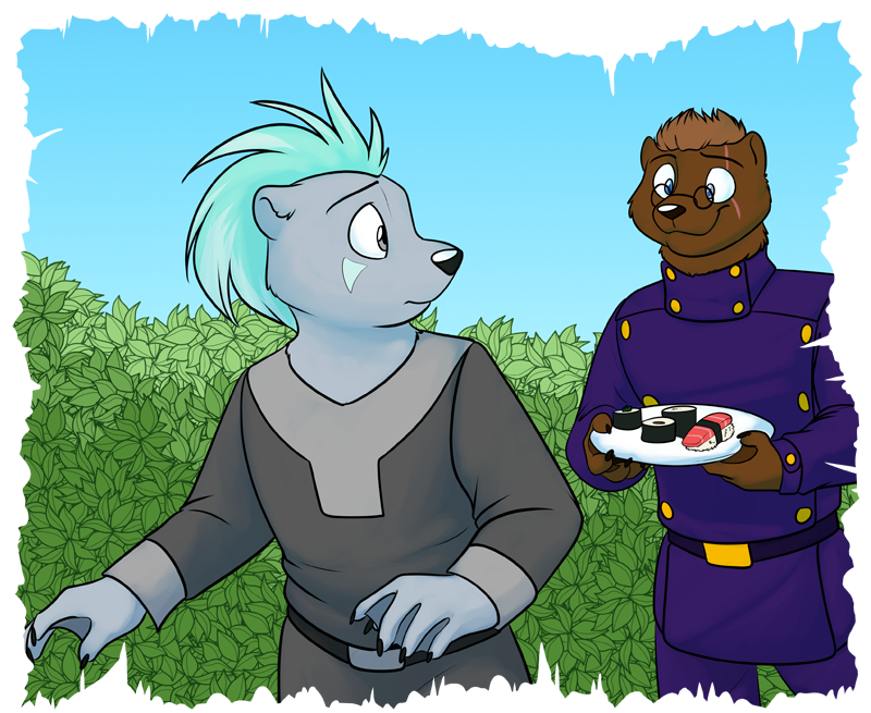 Wess (right) presenting Arget (left) with traditional otter cuisine.