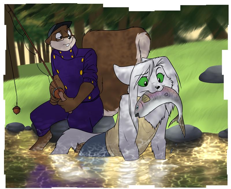 """Artemis (front) and Harlan """"Rebel"""" Stuart fishing"""