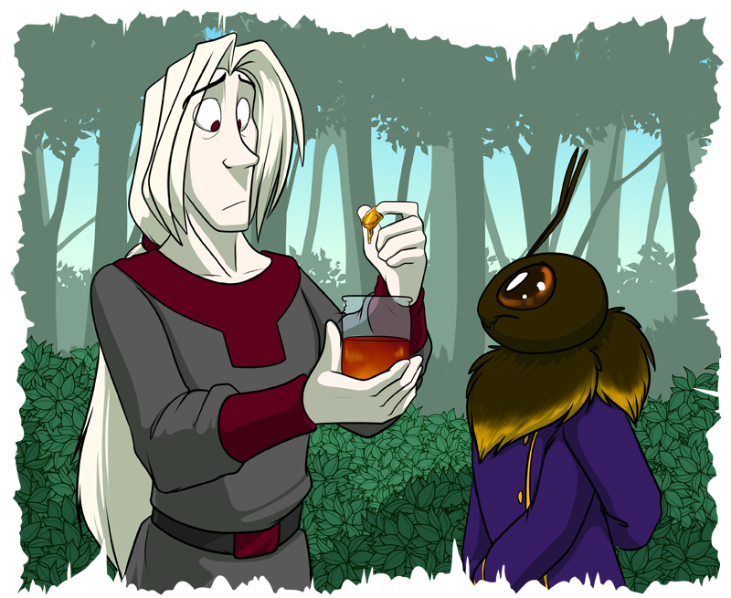 Keala Bombini (right) presenting a gift of honey to Cinnabar (left)