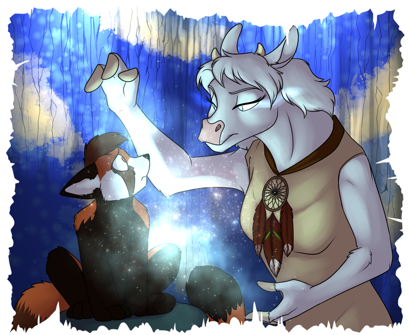 Fenriria Fenhoof (right) performing some magical test on Southpaw.
