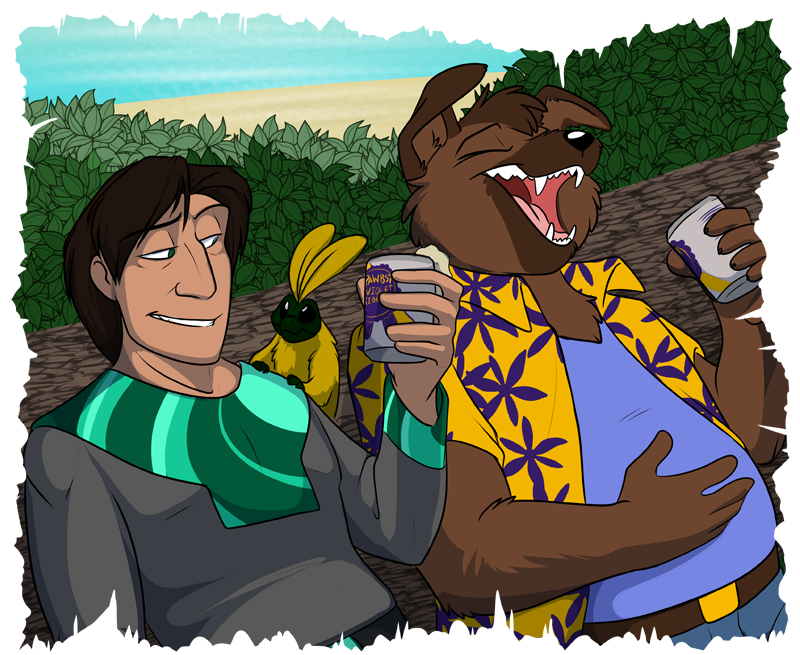 """Malachite (left), Clog (center), and Peter """"Radio"""" Doralius (right) enjoying some traditional Earth drinks"""