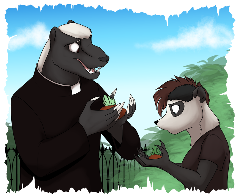 Father Mella (left) and Nicky Chen (right) working with some plants