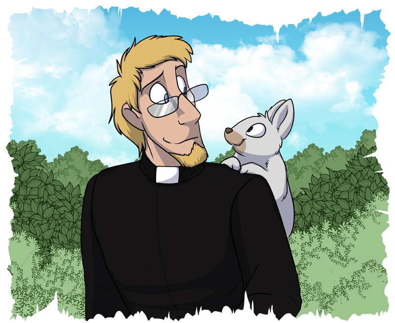 Father Nigel (left) enjoying a nice time with Symon the bunny (right)