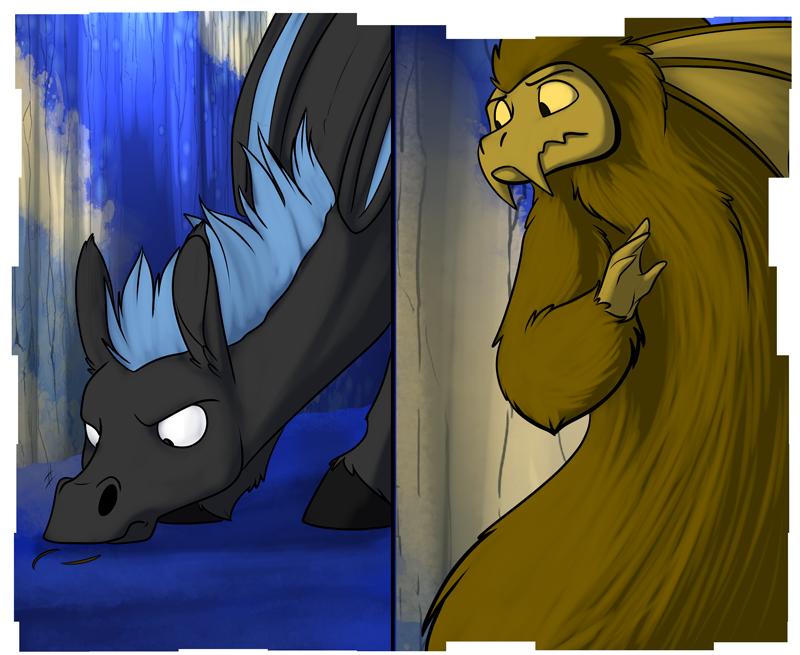 Pyrite (right) evading an investigative Zoljen (left)
