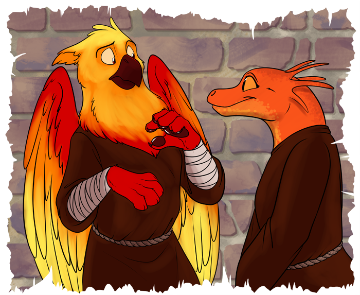 An eager student Grenka (Right) greeting Rubeus (left)