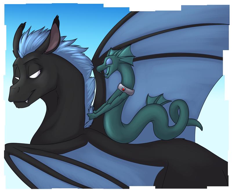 Spike enjoying speedy transportation courtesy of Zoljen