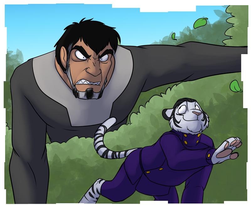 Mark M'Rega (right) evading the wrath of Richard Titan (left)