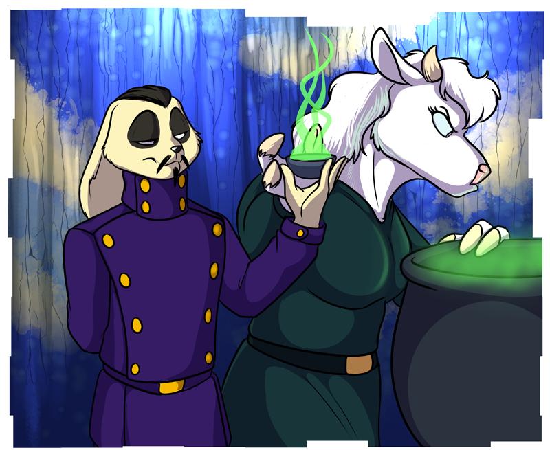 Xander Shadow (left) aiding Fenriria (right) with some magic concoction.